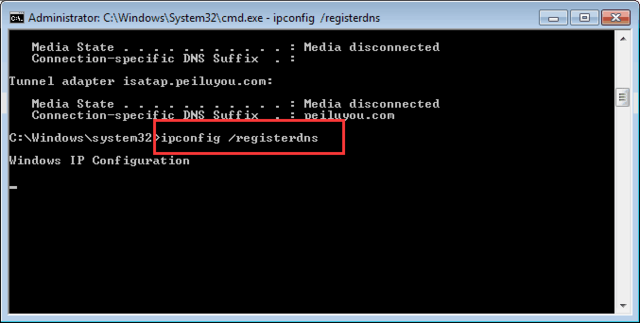 Nhập lệnh ipconfig/ registerdns
