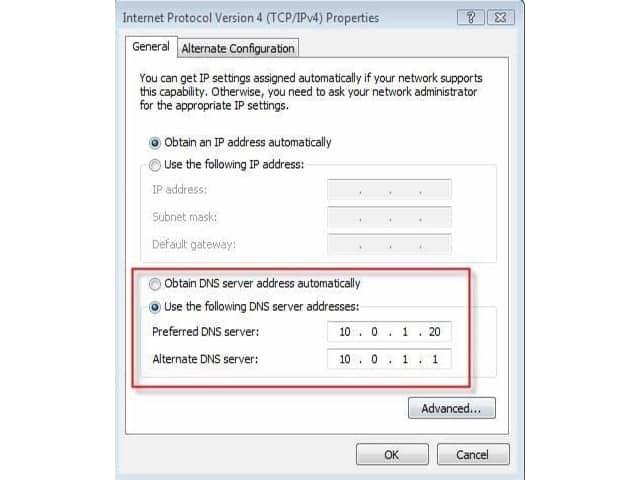 Thay đổi địa chỉ DNS trong mục Use the following DNS Server addresses