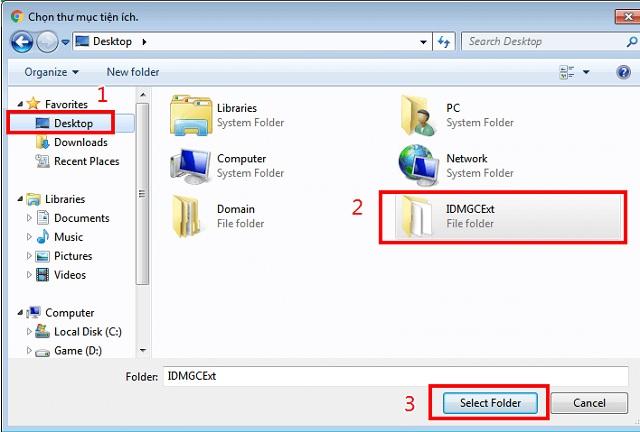 Chọn file có tên IDMGCExt để thêm vào tiện ích
