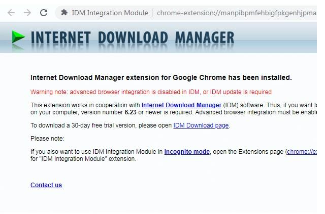 Thông báo đã thêm thành công tiện ích IDM